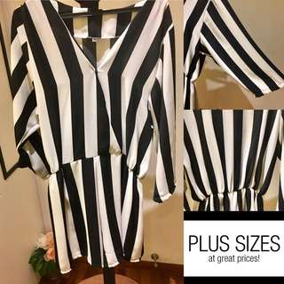(PLUS SIZE) Black & White Romper - Size 3XL