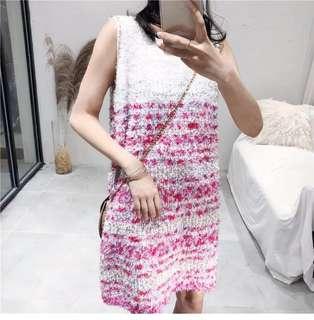Colorblock Knit Dress Women's Summer Sleeveless Dress Long Skirt