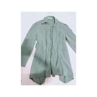 🚚 韓版薄風衣 中長款綠色