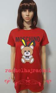 Red Moschino Bear Tshirt Dress