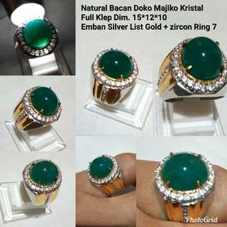 Natural Bacan doko majiko Bluish kristal dgn emban silver ring 8 mewah