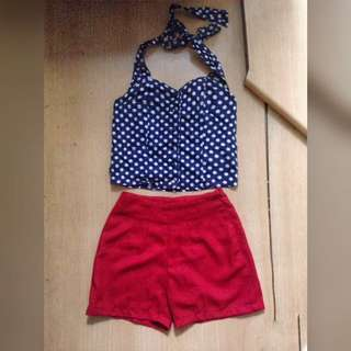 1 set blue red high waist