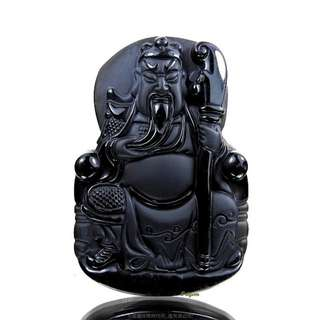 🚚 珍珠林~關公像~大型掛珮~高檔質純黑曜岩(石).化解負能量聖品 #336