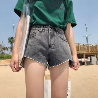 INSTOCKS High waisted denim shorts - grey charcoal