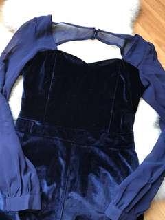 The Velvet Dolls Dark Blue Velvet Romper