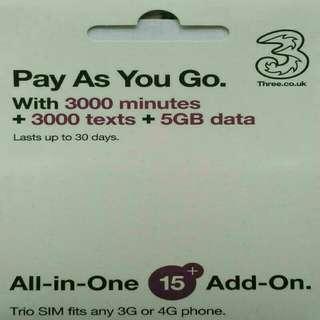 EUROPE 歐洲 上網卡 30日 4G/3G 5GB 數據卡 +3000分鐘英國當地通話 SIM CARD