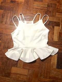Peplum white mini top!