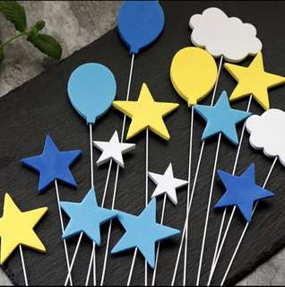 Cake Topper (rockets, moon, clouds)