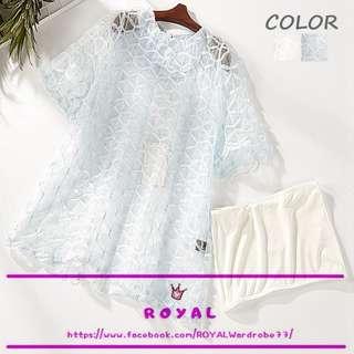 甜美透視雪紡衫X平口小可愛 Z1829