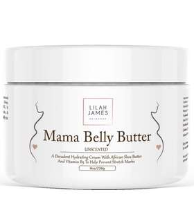[IN-STOCK] Lilah James Skincare Belly Butter 8oz- Fragrance Free, Decadant Cream Helps Prevent Stretch Marks, Relieves Itching, And Deeply Hydrates Skin During Pregnancy