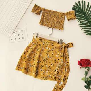 Mustard floral off shoulder crop top