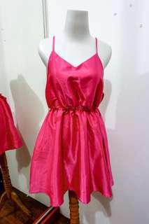 sexy back pink dress