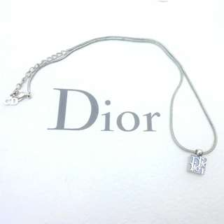 AUTHENTIC DIOR LOGO PENDANT NECKLACE IN SILVER