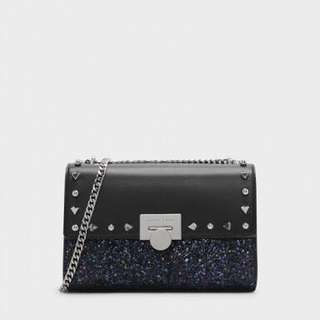 Charles & Keith Stud-Detail Clutch in Black and Suede Pink (NEGO)
