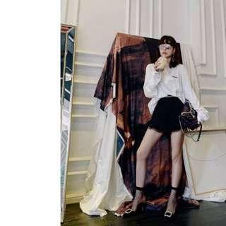 VM 歐美 優雅黑色OL名媛風 鏤空繡花設計 微喇叭A字闊腿短褲