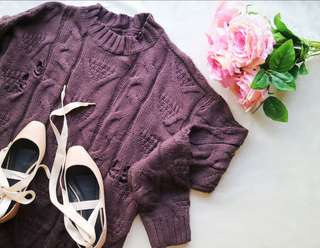 ⚡BROWN OVERSIZED KNITTED SWEATER DRESS⚡
