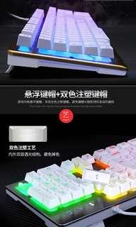 藍/紅/綠/橙/彩虹光鍵盤+滑鼠+(耳機加錢)