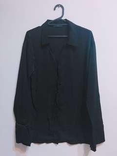 🚚 黑色緞面長袖襯衫