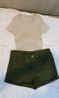 H&M (bottom) shorts ARMY GREEN