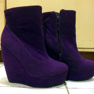 Purple Suede Platform Wedge Ankle Boots
