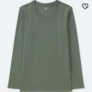 Uniqlo green long sleeve shirt