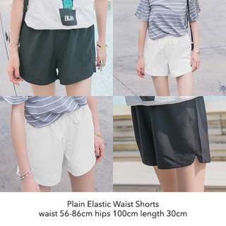 Plain Elastic White Shorts