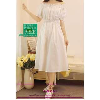 甜美款純白一字領雪紡洋裝 Z812