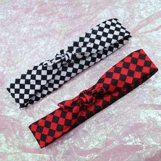 棋盤格造型髮帶中性頭巾