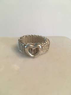 Authentic Tiffany & Co mesh heart ring