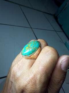 Batu cincin pirus urat emas antik lawas