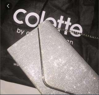 silver colette clutch