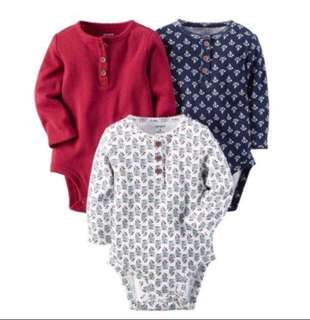 *3M* BN Carter's 3-Pack Long Sleeve Bodysuits For Baby Girl