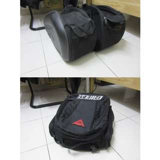 Komine Saddle bag SA212 & Dainese Tail Motorcycle Rear Tail Bag