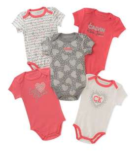 *3M* Brand New Calvin Klein 5-Pack Short Sleeve Bodysuits For Baby Girl