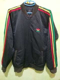 (rare) ADIDAS Big Logo Trefoil RASTA crewneck zip-up sweater