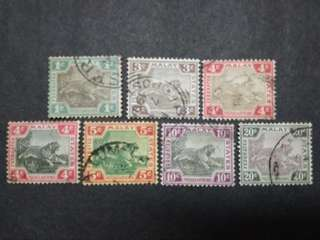 Federated Malay States 1901-1905 Tiger Loose Set Short Of 8c & 50c - 7v Used Malaya Stamps #1