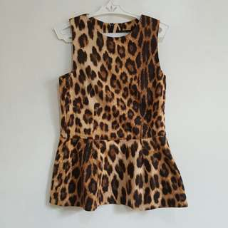 ZARA animal print peplum top
