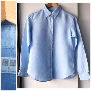 Uniqlo 100% linen blue shirt top blouse brand new