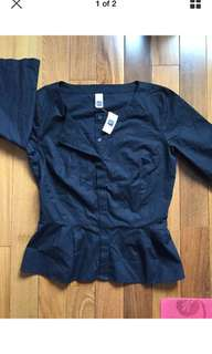 NWT Gap Black Peplum Blouse/Shirt Size S