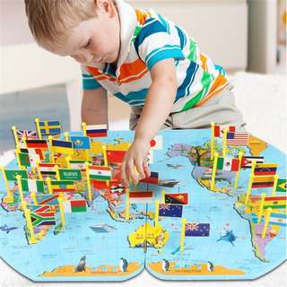 🚚 Wooden world map educational toys