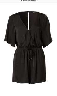 Black silk jumpsuit size 8
