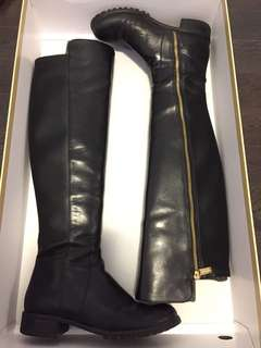 Black Leather Michael Michael Kors Joanie Boots