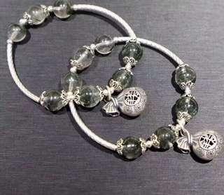 天然10mm幽靈綠水晶手鏈 配s925純銀吊飾