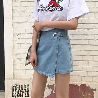 [PO] Side Buckle Denim Skirt