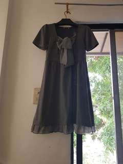 Korean Dress in Gray with Ribbon (S to M)