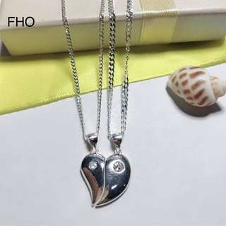 92.5 Italy silver couple Necklace