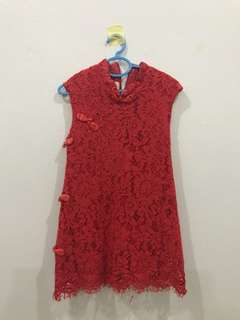 Kids lace cheongsam