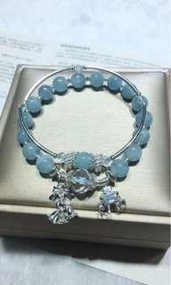 天然8mm海藍寶手鏈 搭配施華洛水晶 925銀吊飾