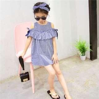 Girl Striped Off Shoulder Dress