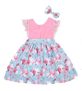Baby Girl Flower Dress + Headband